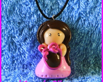 Fimo necklace doll Easter egg birthday gifts