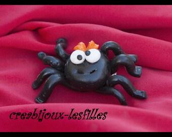 Halloween spider brooch kids jewelry fimo jewelry earrings Stud spider, halloween, spider, black spider jewelry
