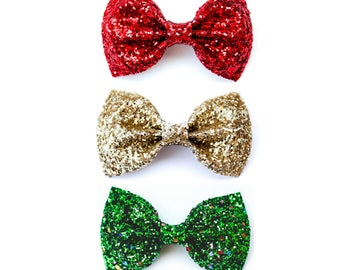 Christmas Glitters - SET OF THREE - Bow pack - Holiday Glitter Bows - Holiday Hair Clips - Christmas Hair Bows - Christmas Hair Clips