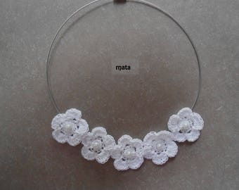 Pink cotton flower Choker