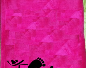 Fleece blanket pink baby personalize it with a flocking velvet (1 and 1 listing)