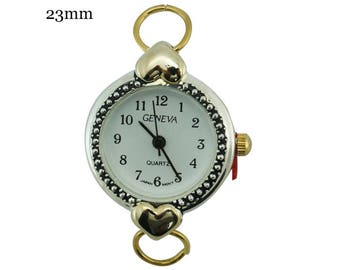 Two Tone Loops Beading Watch Face Hearts 23mm