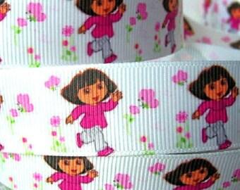Printed grosgrain Ribbon * 22 mm * girl DORA flowers Cartoon - sold by the yard