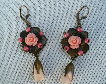 Pink, salmon, and bronze earrings