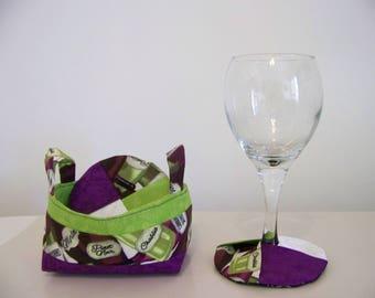 Wine Glass Coasters and Basket