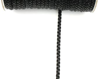BLACK leather 6 mm the meter braided cord