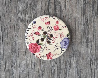 Set of 5 wooden buttons, flowers, 30 mm / / ID N37