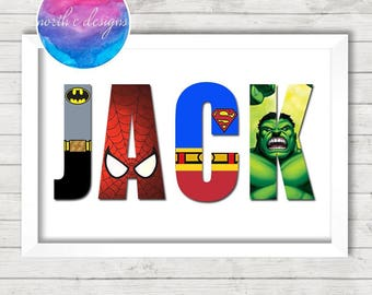 Childrens Personalised Superhero Name Print by North C Designs