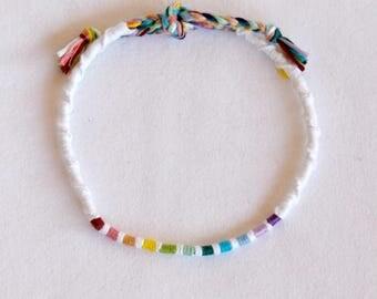 Spiral ankle bracelet white atebas multicolor hippie surf Brasilda rainbow anklet