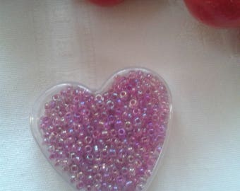 beads color purple seed beads in their box transparent heart shape