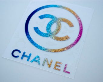 Chanel iron on decals, htv decals, chaanel patches, designer inspired applique, tshirt designs, glitter colors, holographic colors