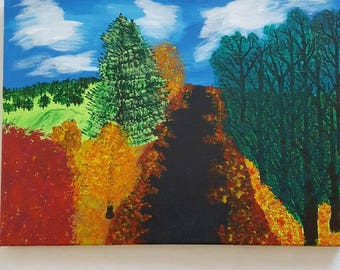 Autumn forrest, Acrylic painted on canvas, originale handmade art-work. One of a kind art.