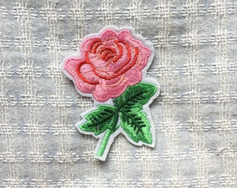 Pink Flower Patch - Iron on Patch, Sew On Patch, Embroidered Patch