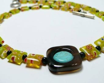 Pop millfori yellow glass and agate necklace