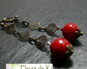 Designer jewelry: prayer LM red lacquer Tibetan earring