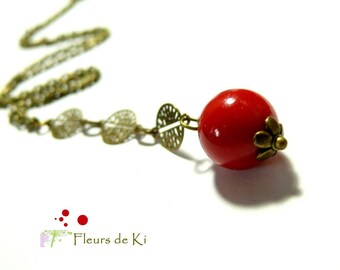 Designer jewelry: necklace Tibetan prayer red lacquer Long model 1