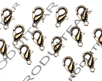 Set of 20 clips color 12 mm lobster clasps Platinum pendant necklace jewelry