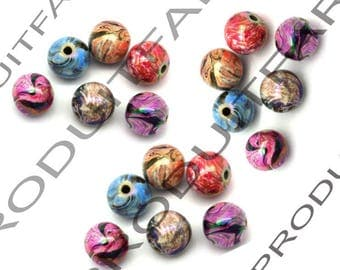 Set of 100 beads round colored 8 mm for pendant jewelry necklace