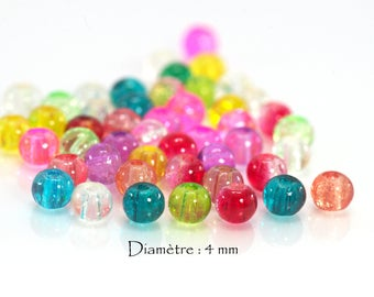 cracked glass - Diam 50 beads. : 4 mm - multicolor set