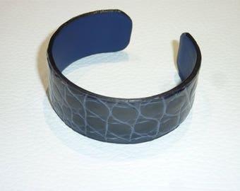 Navy genuine crocodile leather Cuff Bracelet