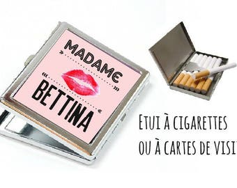 "CIGARETTE or card case personalized-""madame"""