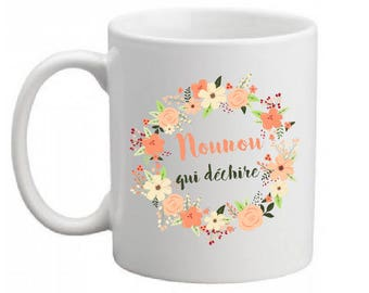 "MUG ceramic ""Nanny who rocks"" (can change the text)"