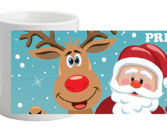 """CERAMIC MUG """"Santa Claus and reindeer"""" personalized with the name of your choice"""