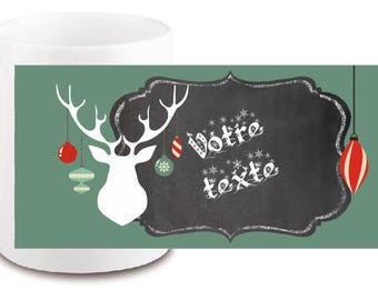 "CERAMIC MUG ""deer"" personalized with text of your choice"
