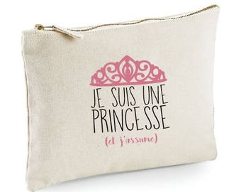 "CLUTCH in cotton ""I'm a Princess and I assume"""