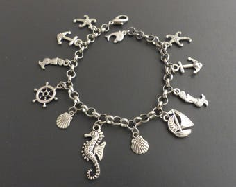 Adjustable sea themed silver charm bracelet