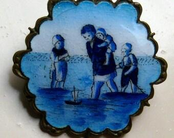 Antique Dutch brooch with enamel Beach scene