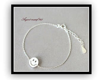 BRACELET MINIMALIST STERLING SILVER 925 SMILE EMOTICON
