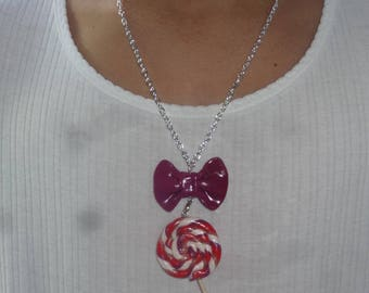 Necklace decorated with a knot gourmet barley sugar