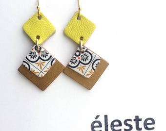 Yellow leather earrings / origami patterns / lightweight earrings with hypoallergenic and anti oxidant clip