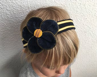 Denim recycled with matching flower headband