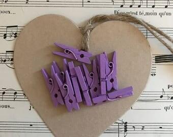 Lot 12 small purple wood clips