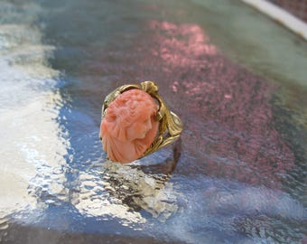 Carved Peach Angelskin Coral Cameo 10K Pinkie Ring Bridal Vintage Boho Gypsy