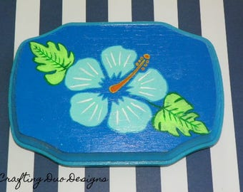 Hibiscus Hand-Painted Wooden Sign