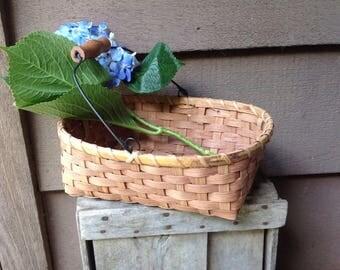 Vintage Wood Handled Basket