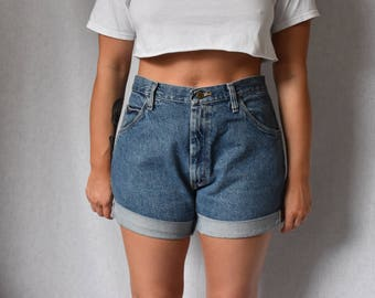 "Wrangler Vintage High Waist Cuffed Denim Shorts Waist 36"""