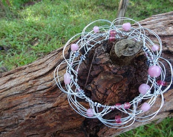 Up-Cycled Pink Flower Wire Mandala