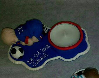 Baby football customize Fimo candle holder