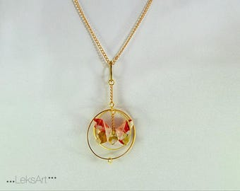 "Gold plated. 蝶 Butterfly Miyuki ""Haru"" is Origami necklace"