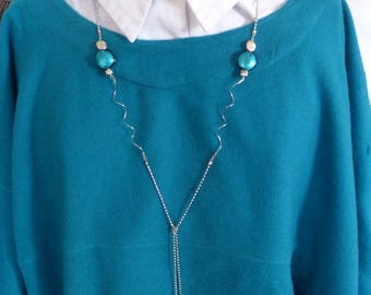 Spiral and turquoise chain necklace