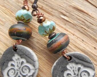 Earrings ethnic model grey turquoise