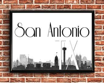 San Antonio Skyline | San Antonio Texas Art | San Antonio TX | San Antonio Print | San Antonio Texas Wall Art | San Antonio Wall Art | Print