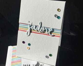 "card ""J'Adore"" cuts and embossed in the colors of the Rainbow"