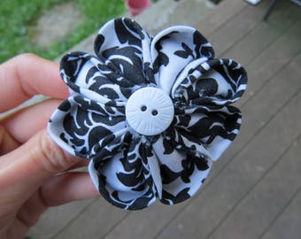 Cute Black White Fabric Flower Hair Clip Hair Pin