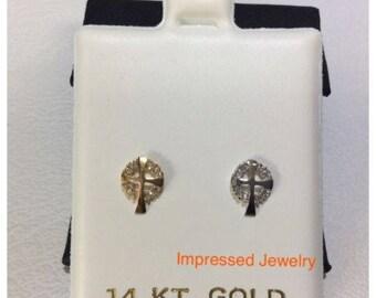 14K White or Yellow Real Gold Cross CZ Stud Screwback safe children women Earrings