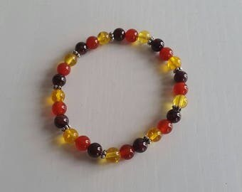 Bracelet Garnet Citrine and carnelian - beads 6 mm